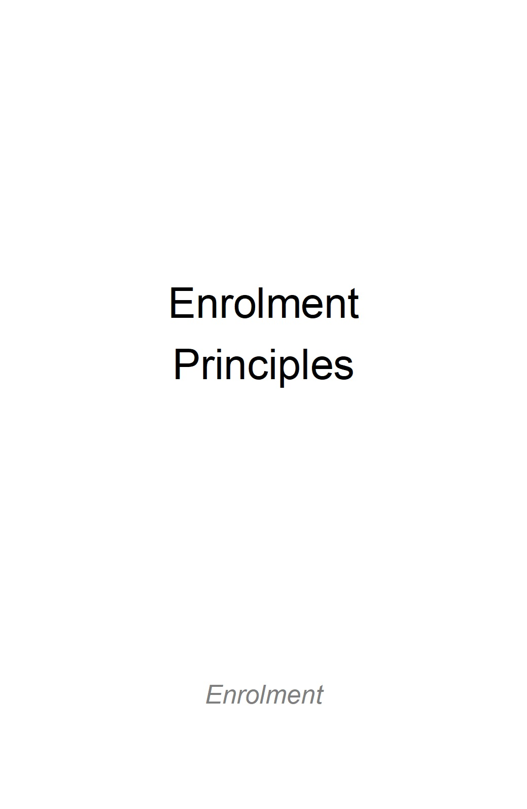 Enrolment Principles for Diocesan Systemic Schools