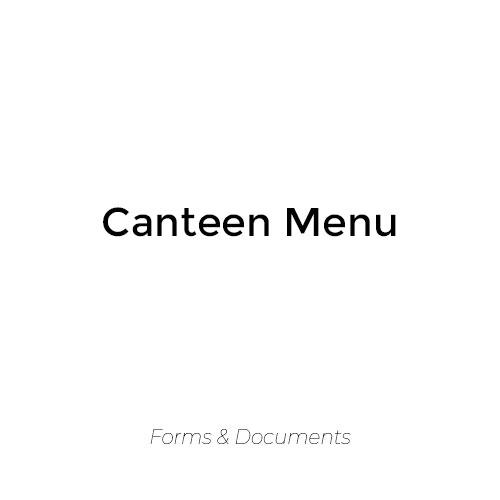 Canteen Menu 2019